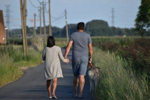 walking, dog walk, couple